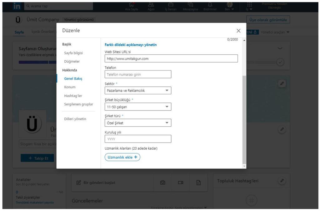 Linkedin şirket sayfası oluşturma adımı 5